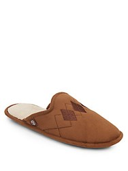 Isotoner Micro Suede Argyle Slippers Sepia Brown