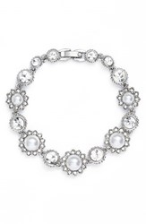 Marchesa Women's Crystal And Faux Pearl Bracelet White Silver