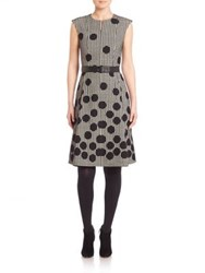 Akris Punto Dotted Houndstooth Dress Black Cream