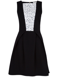 Almari Laser Cut Contrast Dress Black