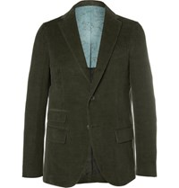 Michael Bastian Green Slim Fit Elbow Patch Cotton Corduroy Suit Jacket Dark Green