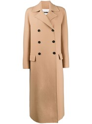 Jil Sander Double Breasted Coat Neutrals