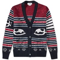 Thom Browne Fish Fair Isle Cardigan Blue