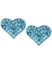 Betsey Johnson Silver Tone Heart Blue Crystal Stud Earrings