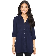 Mod O Doc Slub Jersey Button Up Long Sleeve Shirt True Navy Women's Clothing