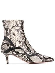 Paula Cademartori Snakeskin Effect Booties Neutrals