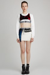 Nasir Mazhar Printed Velvet Layered Mini Skirt White Blue Black