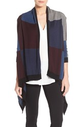 Foxcroft Women's Colorblock Open Front Cardigan Black Multi