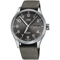 Oris 752 7698 4063 07 5 22 17Fc Men's Big Crown Pro Pilot Automatic Date Day Fabric Strap Watch Grey
