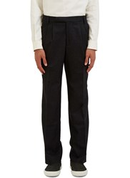 Emiliano Rinaldi Pinstripe Straight Leg Pants Black