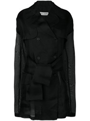 Dolce And Gabbana Vintage 1990'S Sheer Double Breasted Coat Black
