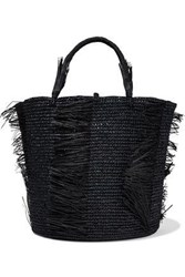Sensi Studio Woman Caramelo Fringed Woven Straw Tote Black