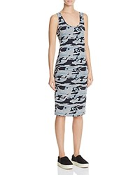 Monrow Shirred Camo Print Dress Granite