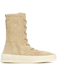 Yeezy Lace Up Boots Men Leather Calf Suede Rubber 44 Nude Neutrals