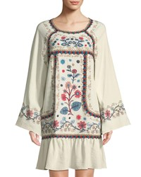 Leon Max Embroidered Long Sleeve Gauze Mini Dress Cream