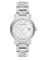 Burberry Check Stamped Stainless Steel Watch Silver