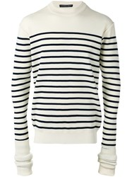 Y Project Elongated Sleeve Striped Sweater White