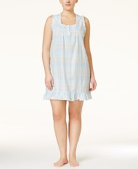 Miss Elaine Plus Size Ruffle Trimmed Nightgown Blue Plaid