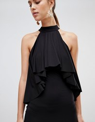 Forever Unique Ruffle Halter Neck Dress Black