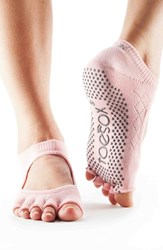 Women's Toesox 'Bella' Half Toe Gripper Socks Fishnet Kiss Pink