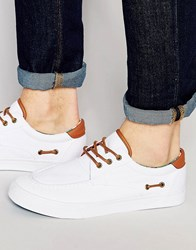 Asos Boat Shoes In White With Floral Lining White