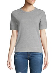 Saks Fifth Avenue Short Sleeve Crop Top Heather Grey