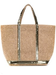 Vanessa Bruno Sequin Trim Tote Brown