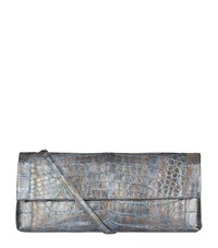 Nancy Gonzalez Metallic Gotham Crocodile Clutch Female Silver