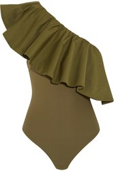 Alix Moore One Shoulder Cotton Blend Poplin And Stretch Jersey Bodysuit Army Green