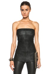 Rick Owens Anthem Leather Bustier In Black