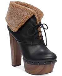 Jessica Simpson Daane Foldover Faux Shearling Booties Women's Shoes Black