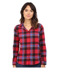 Roxy Campay Long Sleeve Shirt Moon Plaid Combo Scarlet Women's Long Sleeve Button Up Red