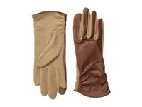 Echo Touch Ruched Leather Mix Glove Saddle Dress Gloves Brown