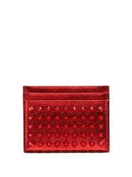 Christian Louboutin M Kios Spike Embellished Leather Cardholder Red