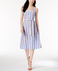 Nine West Cotton Striped A Line Dress Blue Multi