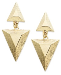 Bar Iii 12K Gold Plated Triangular Textured Drop Earrings