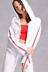 Forever 21 Striped Zip Front Hoodie White