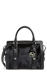 Michael Michael Kors 'Medium Collins' Genuine Calf Hair And Leather Satchel Black Black Silver