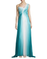 Monique Lhuillier One Shoulder Ombre Gown Teal Silk Blue Silk