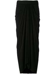 Rick Owens Lilies Draped Long Skirt Black