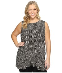 Vince Camuto Plus Size Sleeveless Deco Layer Dots Ruffle Front Blouse Rich Black Women's Clothing