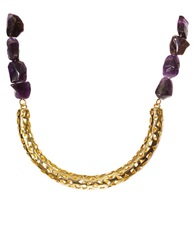 Kara Ross Goldtone Arc And Amethyst Stone Necklace Amethyst Gold