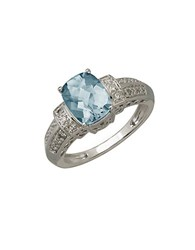 Lord And Taylor 14Kt. White Gold Diamond Aqua Ring Aqua White Gold