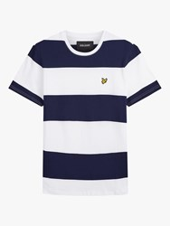 Lyle And Scott Stripe Crew Neck T Shirt Navy