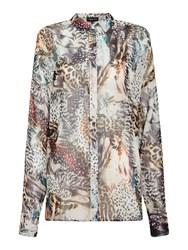Label Lab Feather Print Blouse Multi Coloured Multi Coloured