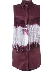 Drome Sleeveless Fringed Shirt Pink And Purple