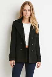 Forever 21 Double Breasted Pea Coat Black