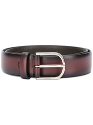 Canali Classic Buckle Belt Red