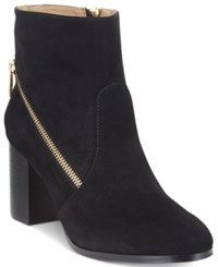 Adrienne Vittadini Bob Side Zipper Ankle Booties Women's Shoes Black Suede