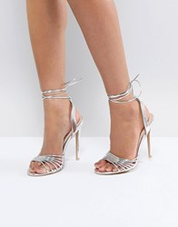 82d20d97c0 True Decadence Silver Ankle Tie Heeled Sandal Silver